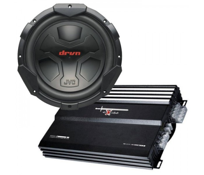 "JVC CS-GD1200 subwoofer 12"" pack with Excalibur 500.2 amplifier and enclosure"