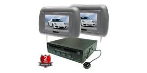 "In Phase DVD Player and 2 Headrest 7"" Screen Package Bundle IVM7PK Grey"
