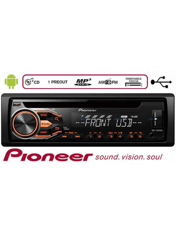 Pioneer DEH-1800UBA , 50w x 4 tuner rds CD, USB and Aux-In