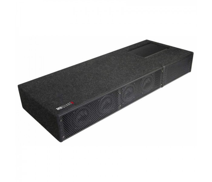 MB Quart QB410 A - Universal 4 x 10cm Active Subwoofer Bass Box Fits into trunk with 89cm width