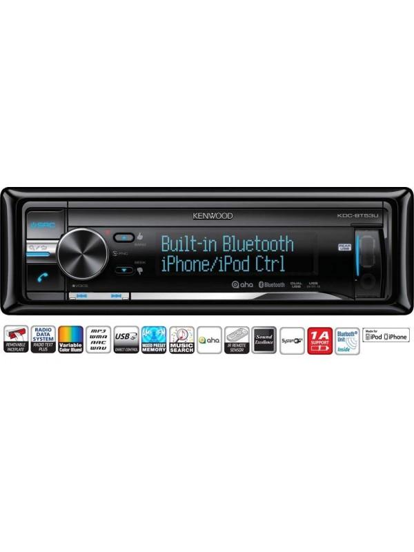kenwood kdc bt53u bluetooth car stereo ipod full control. Black Bedroom Furniture Sets. Home Design Ideas
