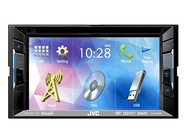 "JVC KW-V220BT - 6.2"" Double DIN CD/DVD/USB with Bluetooth"
