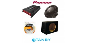 "PIONEER PACKAGE DEAL 12"" SUBWOOFWER + AMPLIFIER + 12"" MDF BOX + POWER KIT"
