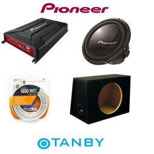 "PIONEER PACKAGE DEAL 12"" SUBWOOFWER + AMPLIFIER + 12"" MDF BOX + POWER KIT"