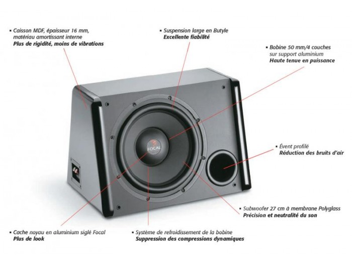 "Focal SB27V1 11"" Polyglass Series Sub Enclosure"
